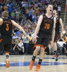 "Mercer teammates do ""victory"" dance after defeating Duke in the NCAA season opener"