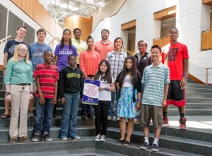 Lewis and students from the FAME Music and Technology Camp at University of Maryland